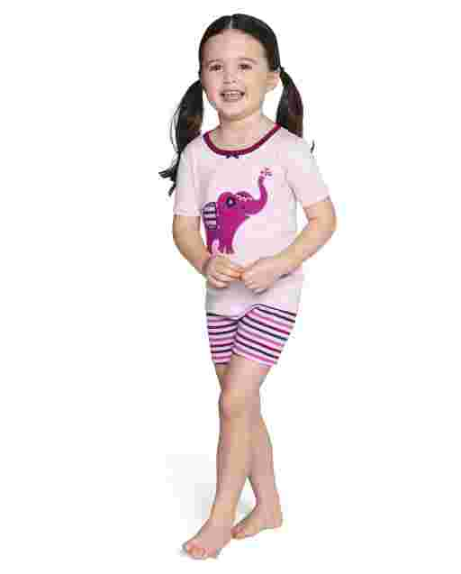 Girls Short Sleeve Elephant And Striped Snug Fit Cotton 2-Piece Pajamas - Gymmies