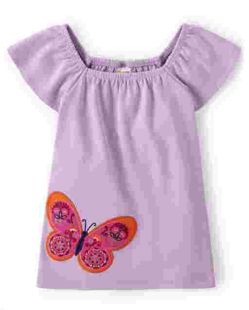 Girls Short Flutter Sleeve Embroidered Butterfly Top - Summer Sunsets