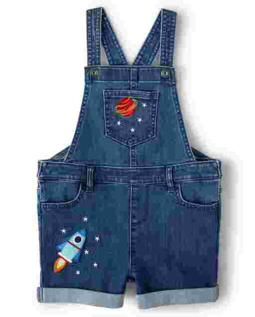 Girls Sleeveless Embroidered Space Denim Shortalls - Future Astronaut