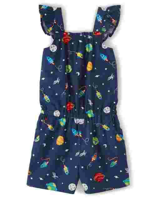 Girls Short Sleeve Space Print Poplin Ruffle Romper - Future Astronaut
