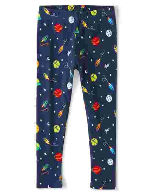 Girls Space Print Knit Leggings - Future Astronaut