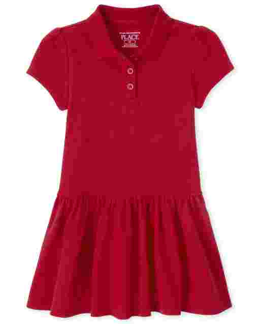 Toddler Girls Uniform Short Sleeve Pique Polo Dress