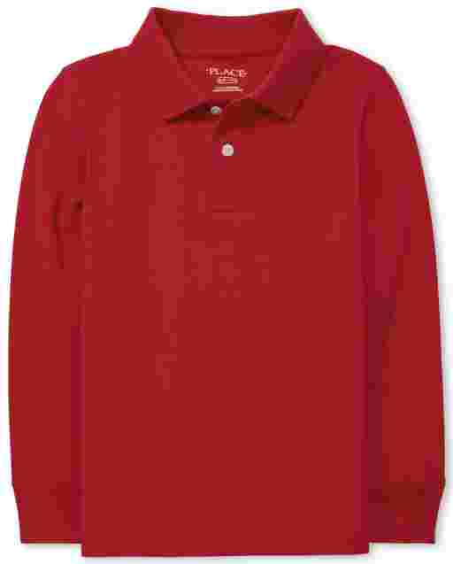 Boys Uniform Long Sleeve Pique Polo