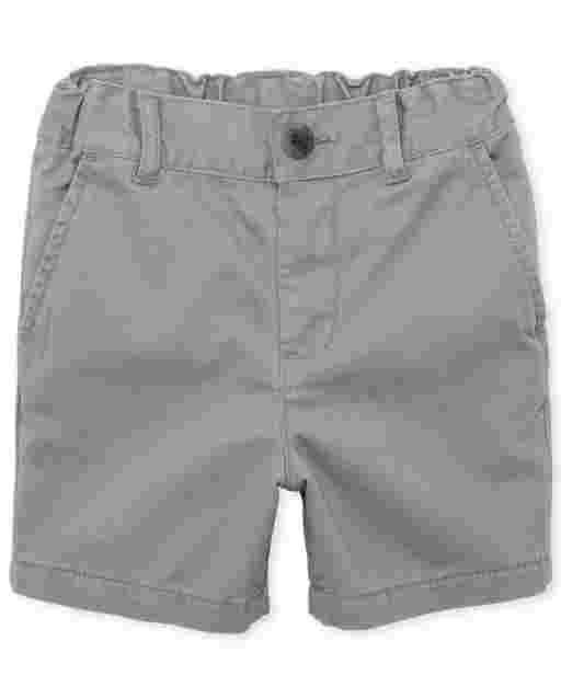 Pantalones cortos chinos tejidos de uniforme para niños pequeños
