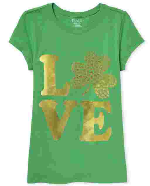 Girls St. Patrick's Day Short Sleeve Foil 'LOVE' Shamrock Graphic Tee