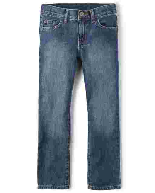 Boys Basic Bootcut Jeans - Medium Blue Indigo Wash