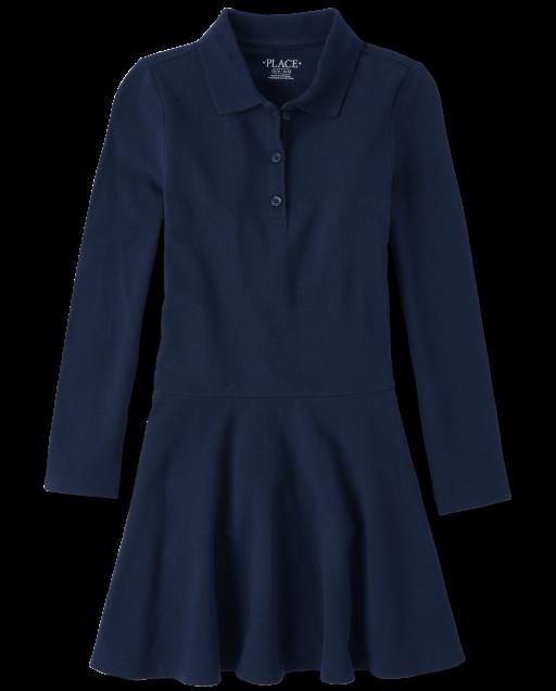Girls Uniform Long Sleeve Pique Polo Dress