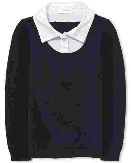 Girls Uniform Long Sleeve 2 In 1 Sweater