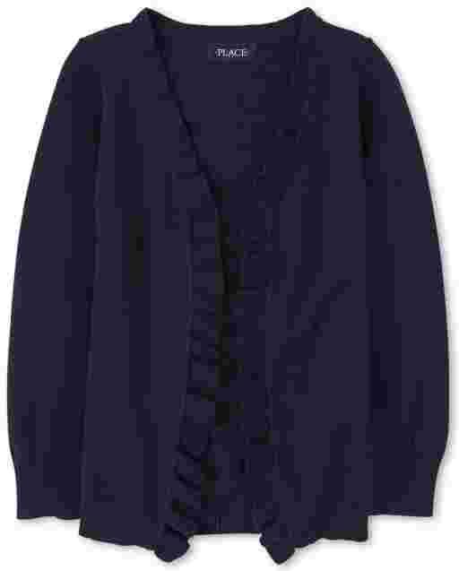 Girls Uniform Long Sleeve Ruffle Open Front Cardigan