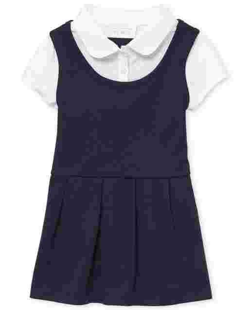 Toddler Girls Uniform Short Sleeve Ponte Knit 2 In 1 Dress