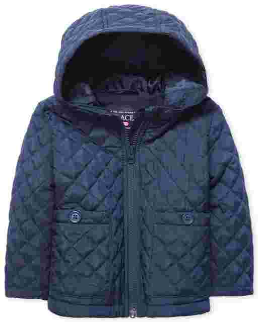 Toddler Girls Uniform Long Sleeve Quilted Hooded Jacket