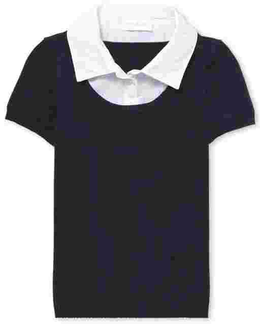 Girls Uniform Short Sleeve 2 In 1 Sweater