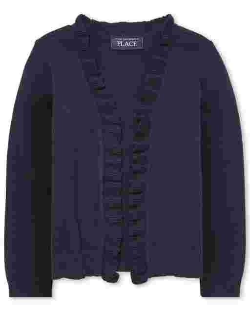 Toddler Girls Uniform Long Sleeve Ruffle Open Front Cardigan