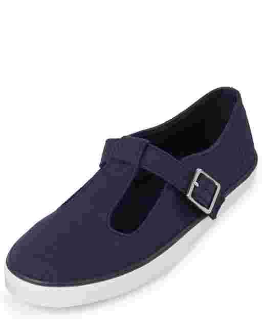 Girls Uniform T-Strap Sneakers