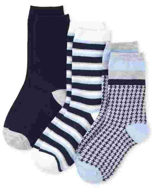 Boys Uniform Houndstooth Crew Socks 3-Pack