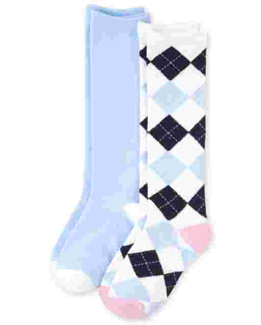 Girls Uniform Argyle Knee Socks 2-Pack