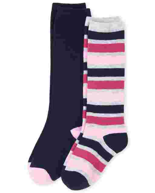 Girls Uniform Striped Knee Socks 2-Pack