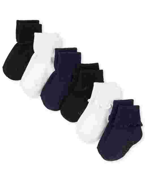 Toddler Girls Uniform Ruffle Turn Cuff Socks 6-Pack
