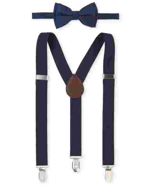 Boys Uniform Bow Tie And Suspenders Set