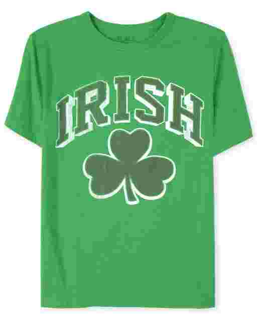 Boys Matching Family St. Patrick's Day Short Sleeve 'Irish' Shamrock Graphic Tee