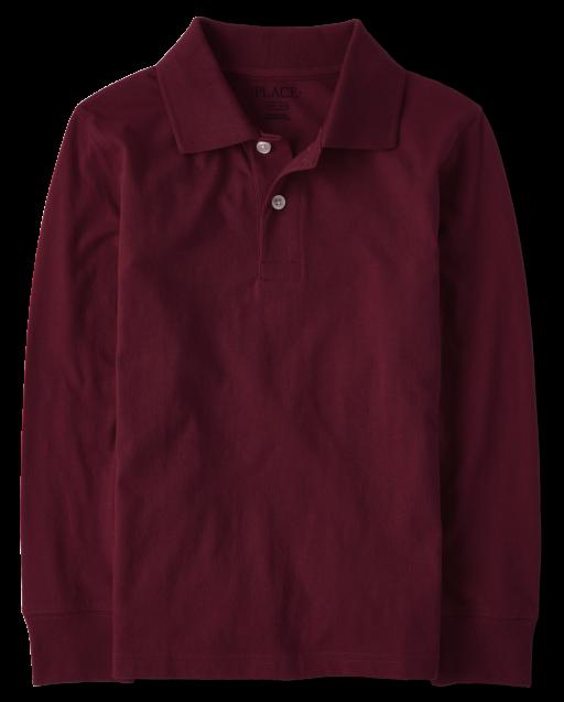 Boys Uniform Long Sleeve Soft Jersey Polo