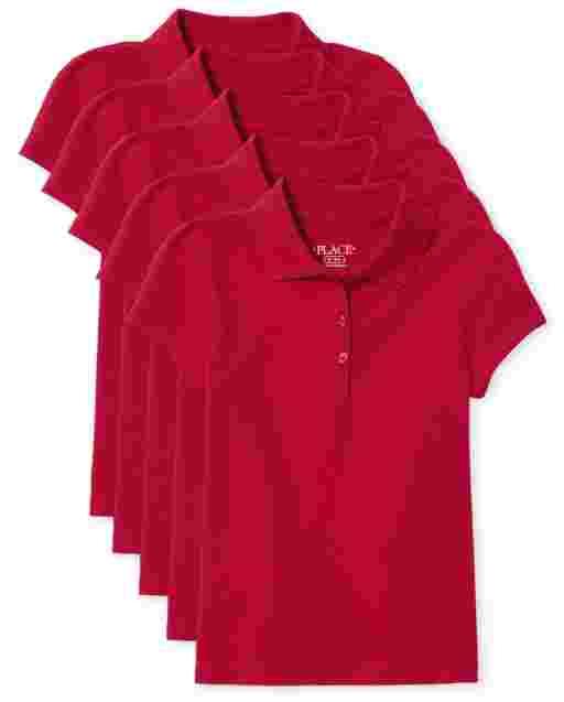 Girls Uniform Short Sleeve Pique Polo 5-Pack