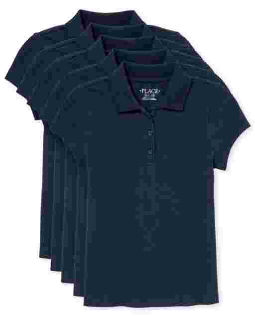 Girls Uniform Short Sleeve Pique Polo 5-Pack