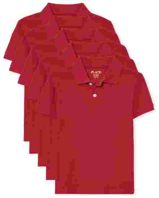Boys Uniform Short Sleeve Pique Polo 5-Pack