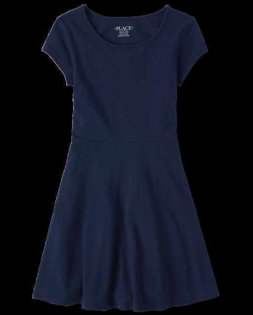 Girls Short Sleeve Knit Skater Dress