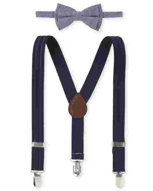 Toddler Boys Chambray Matching Bow Tie And Suspenders Set