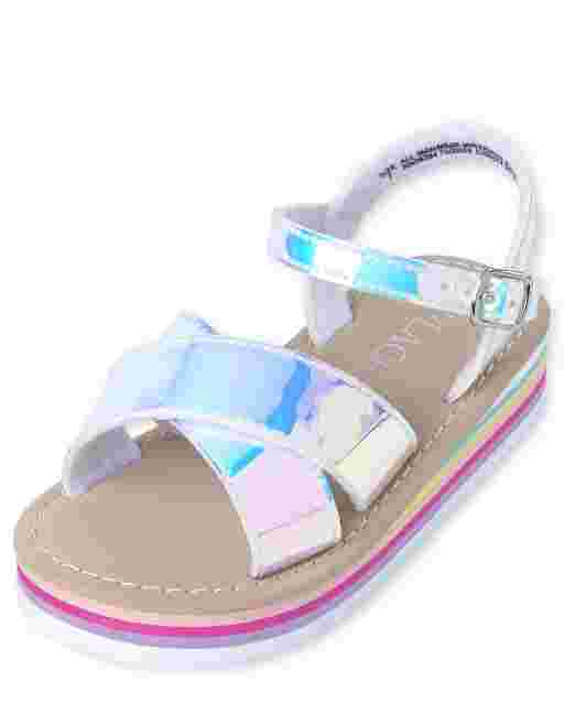 Toddler Girls Holographic Rainbow Faux Patent Leather Matching Platform Sandals