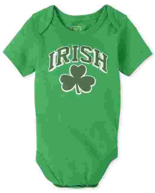 Unisex Baby Matching Family St. Patrick's Day Short Sleeve 'Irish' Shamrock Graphic Bodysuit