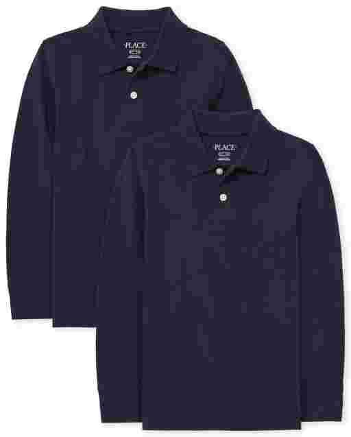 Boys Uniform Long Sleeve Pique Polo 2-Pack