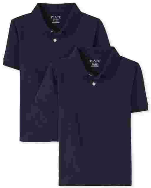 Boys Uniform Short Sleeve Jersey Polo 2-Pack