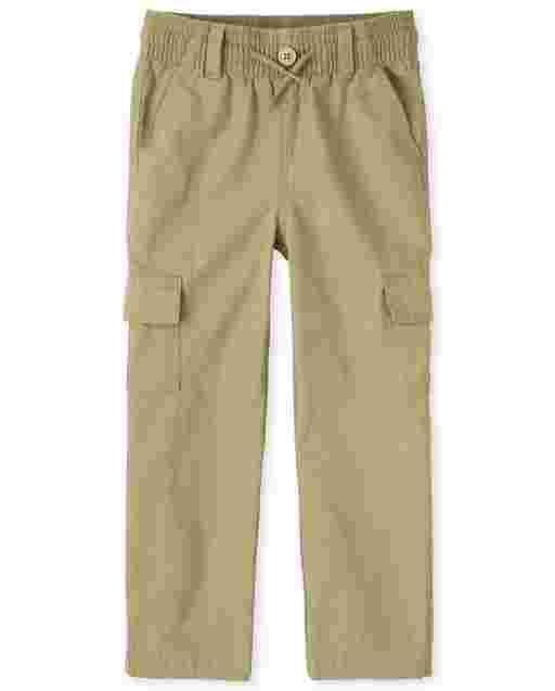 Boys Uniform Woven Pull On Slim Cargo Pants