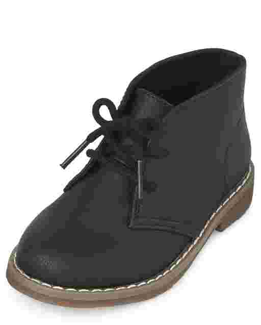 Toddler Boys Uniform Faux Leather Lace Up Boots