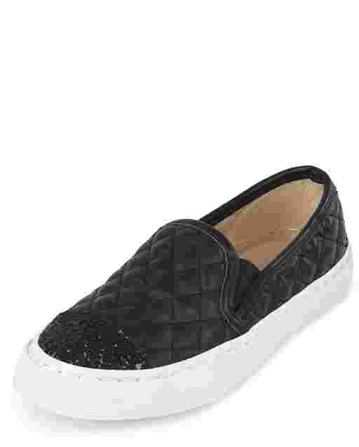 Girls Uniform Glitter Quilted Faux Leather Slip On Sneakers
