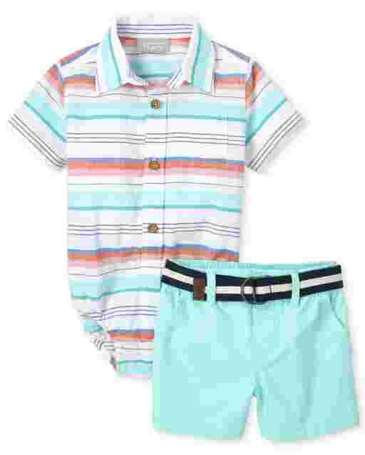 Baby Boys Dad And Me Short Sleeve Striped Chambray Matching Button Down Bodysuit And Belted Woven Chino Shorts Outfit Set
