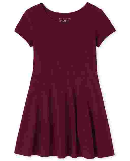 Toddler Girls Uniform Short Sleeve Knit Skater Dress
