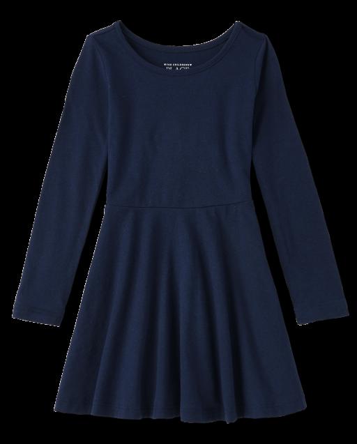 Toddler Girls Uniform Long Sleeve Knit Skater Dress