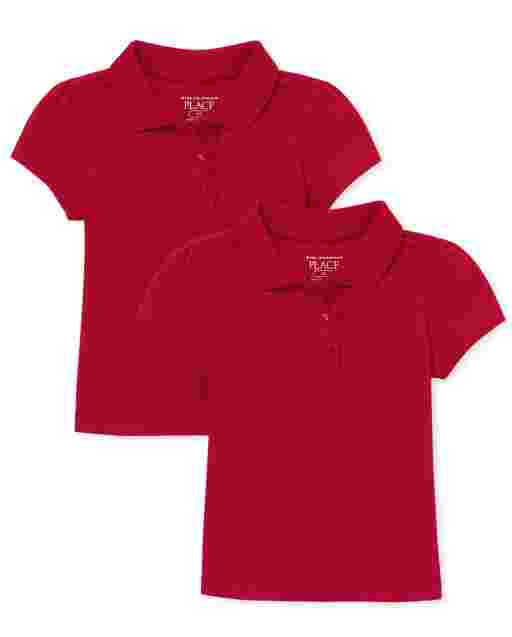 Toddler Girls Uniform Short Sleeve Ruffle Pique Polo 2-Pack