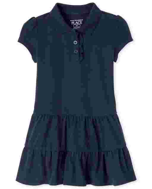 Toddler Girls Uniform Short Sleeve Tiered Pique Polo Dress