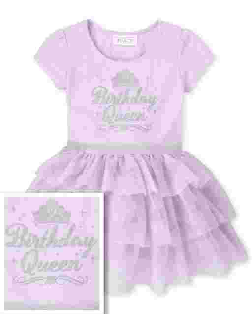 Baby And Toddler Girls Short Sleeve Glitter 'Birthday Queen' Knit To Woven Tutu Dress