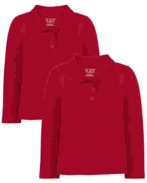 Toddler Girls Uniform Long Sleeve Ruffle Pique Polo 2-Pack