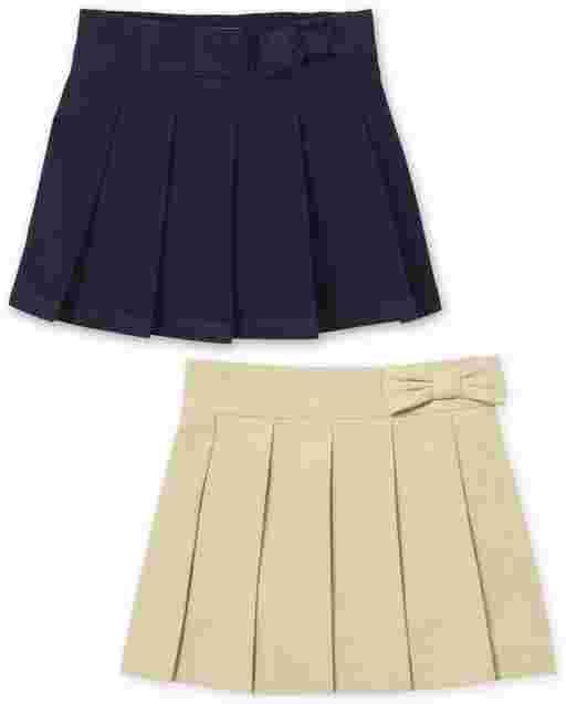 Toddler Girls Uniform Woven Pleated Skort 2-Pack