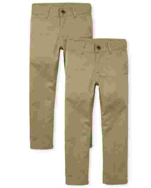 Boys Uniform Woven Skinny Chino Pants 2-Pack