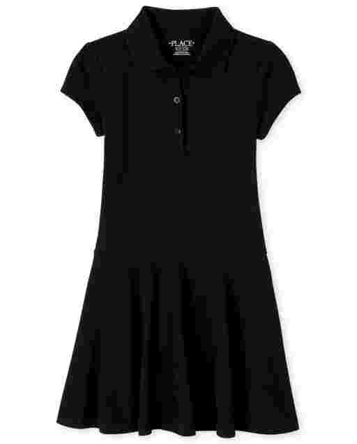 Girls Uniform Short Sleeve Knit Pique Polo Dress