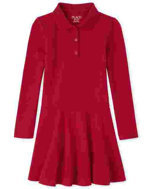 Girls Uniform Long Sleeve Knit Pique Polo Dress