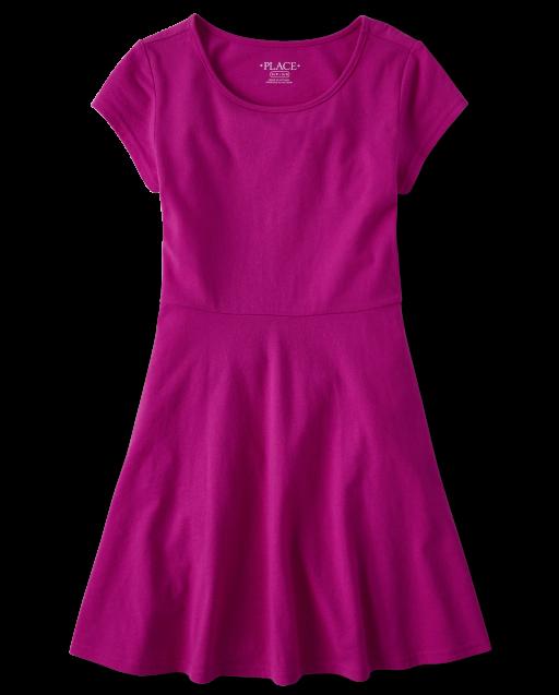 Girls Uniform Short Sleeve Knit Skater Dress