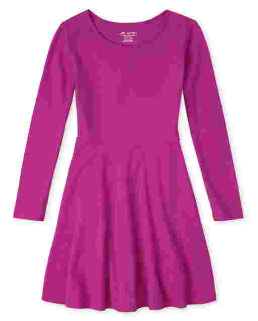Girls Uniform Long Sleeve Knit Skater Dress